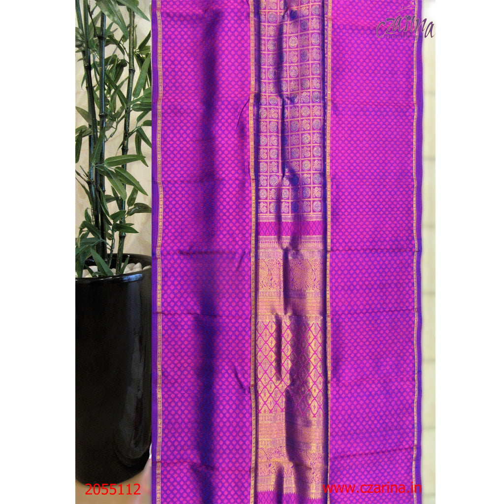 PURPLE PINK KANCHIPURAM SILK SAREE