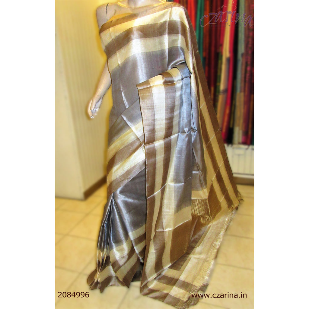 ASH CREAM TUSSAR SILK SAREE
