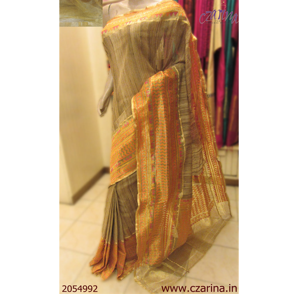 BEIGE GOLDEN BANARASI JUTE SILK SAREE
