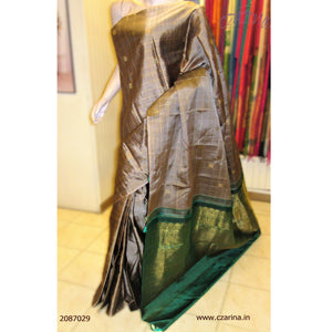 GREY GREEN KANCHIPURAM SILK SAREE