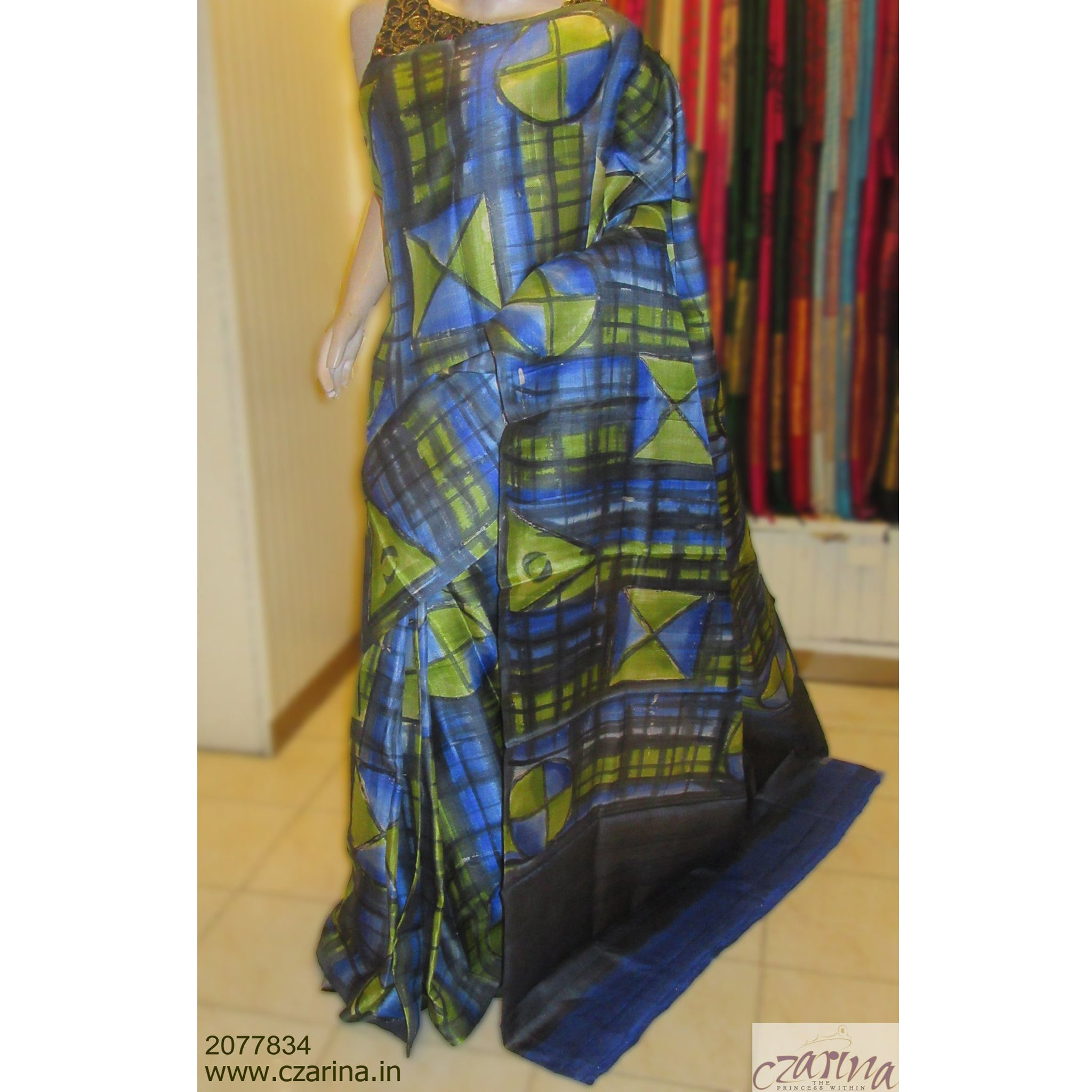 BLUE BLACK GREEN PRINTED TUSSAR SILK SAREE