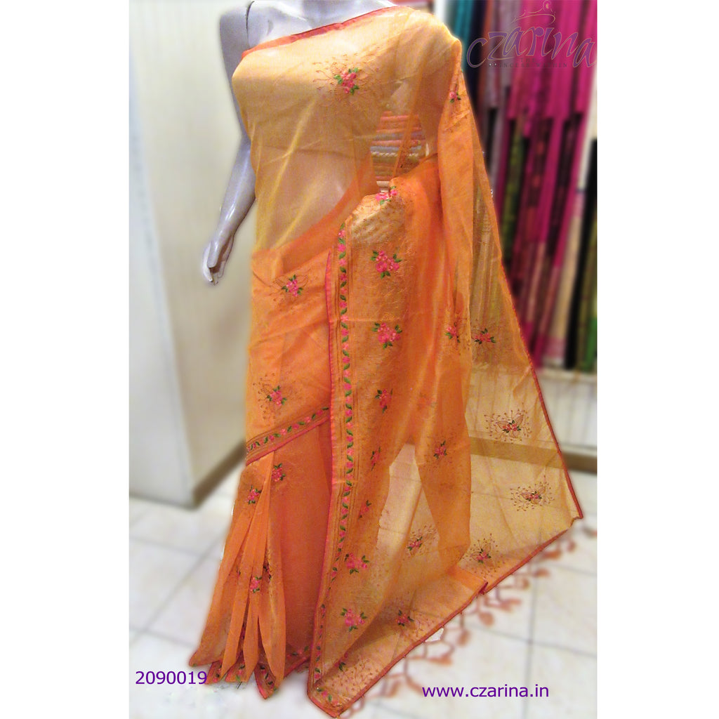 ORANGE PINK EMBROIDERED KOTA SAREE