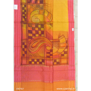 YELLOW PINK BROWN PRINTED SILKY KOTA
