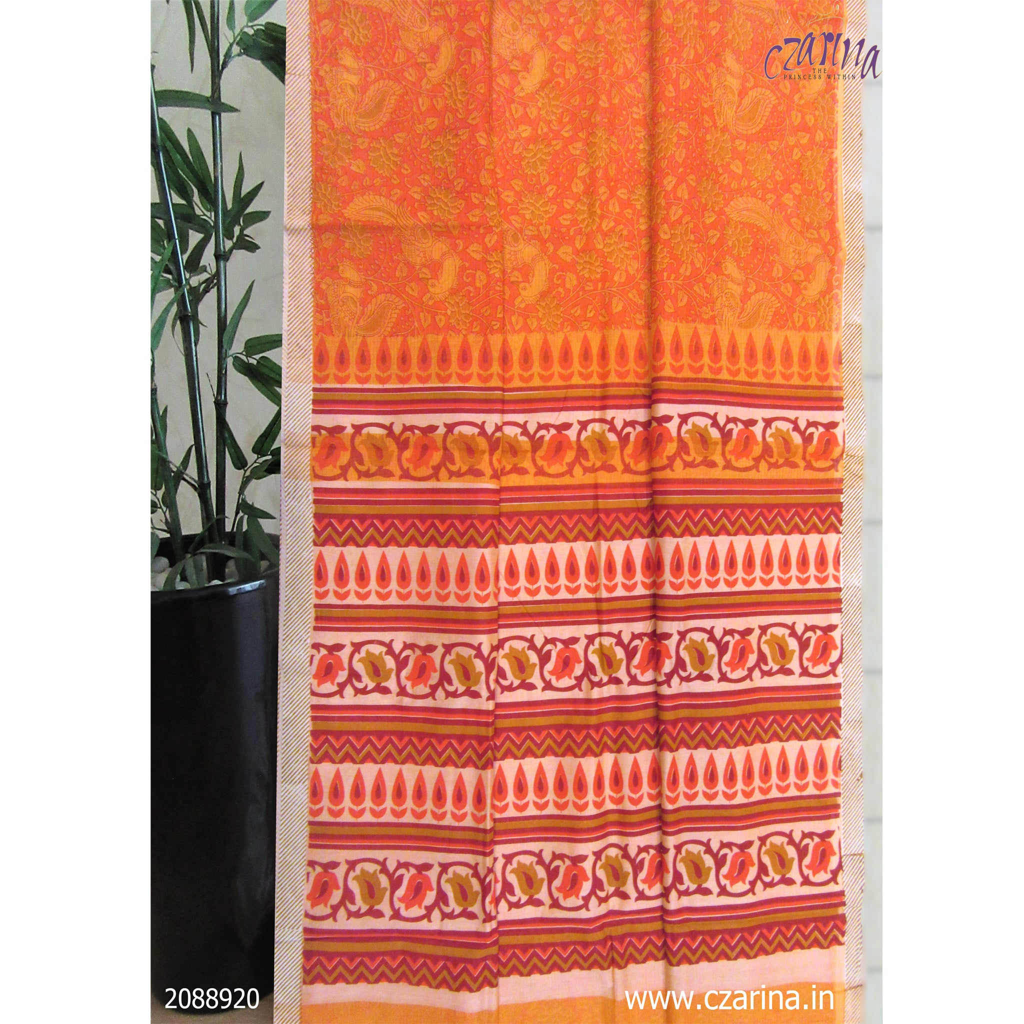 ORANGE MUSTARD PRINTED COTTON KOTA SAREE