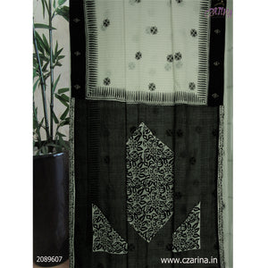 OFF WHITE BLACK PRINTED COTTON SAREE