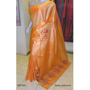 ORANGE CUT WORK TUSSAR SILK SAREE