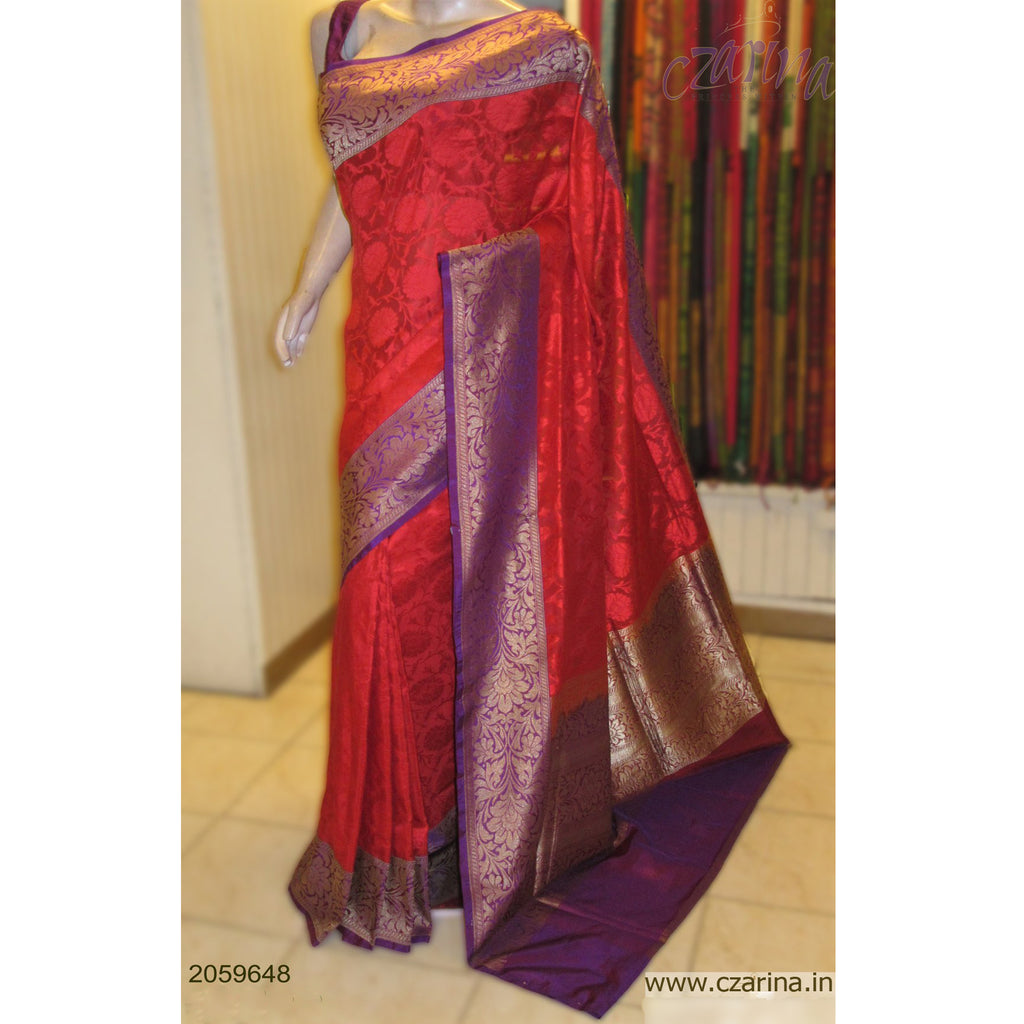 RED VIOLET EMBROIDERED BANARASI SILK SAREE