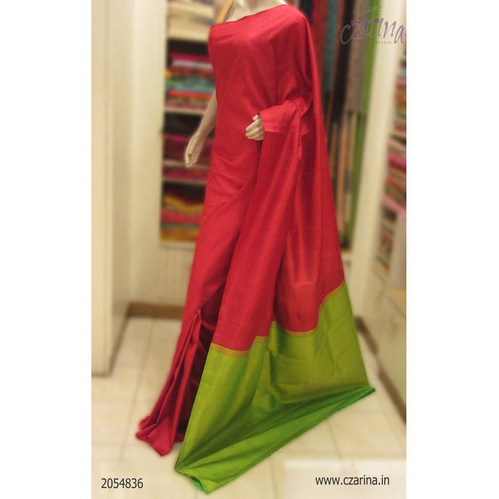 RED GREEN KANCHIPURAM SILK SAREE