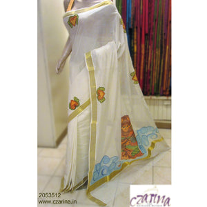 OFF WHITE MURAL PAINTED COTTON KERALA SAREE
