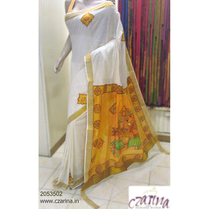 OFF WHITE AND MUSTARD MURAL PAINTED COTTON KERALA SAREE