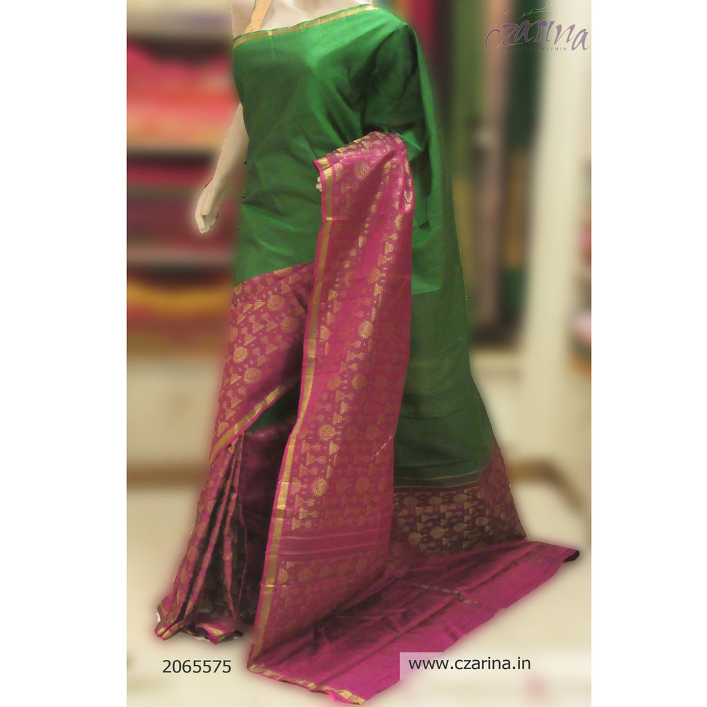 GREEN MAGENTA PURE KANCHIPURAM SILK SAREE