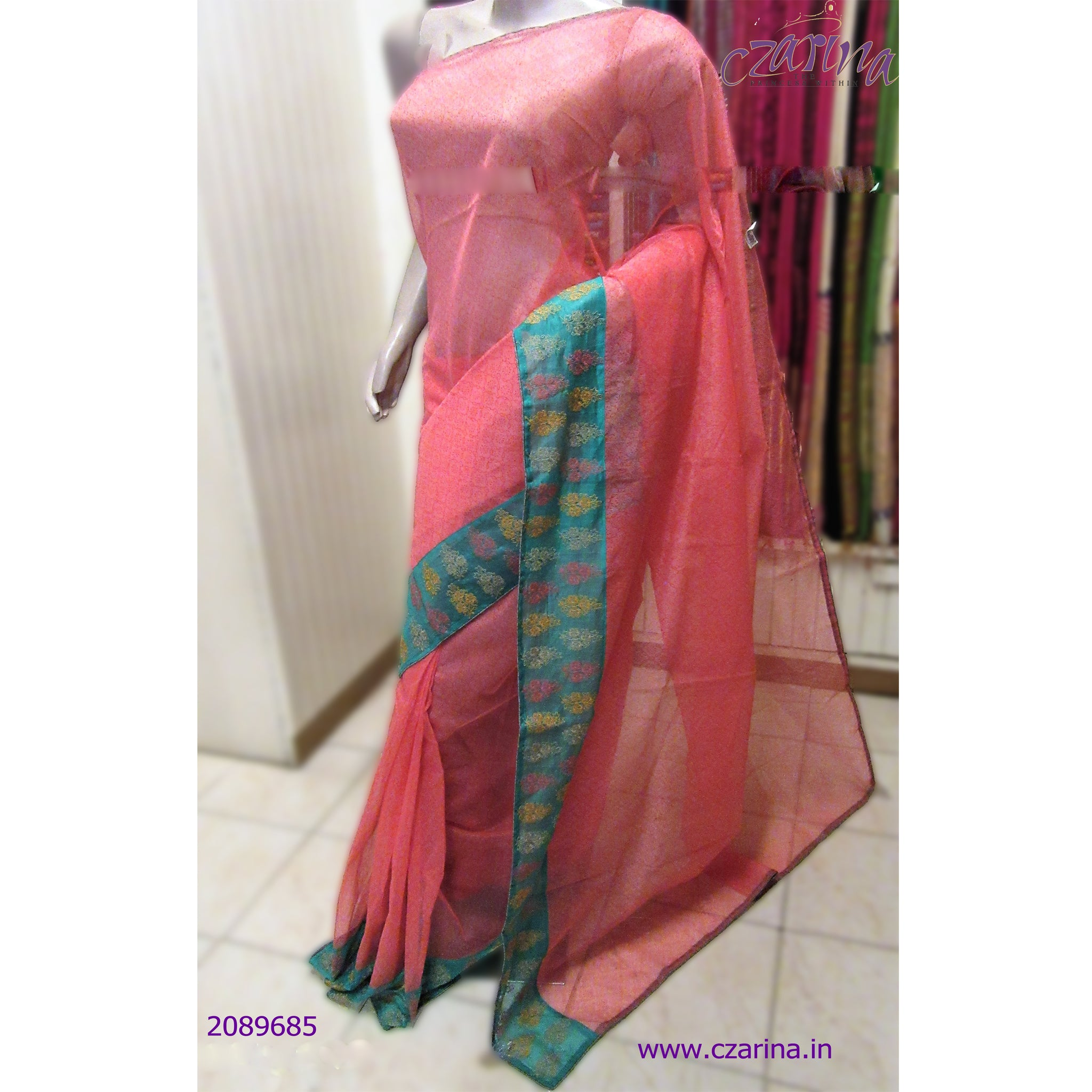 PINK GREEN EMBROIDERED KOTA SAREE
