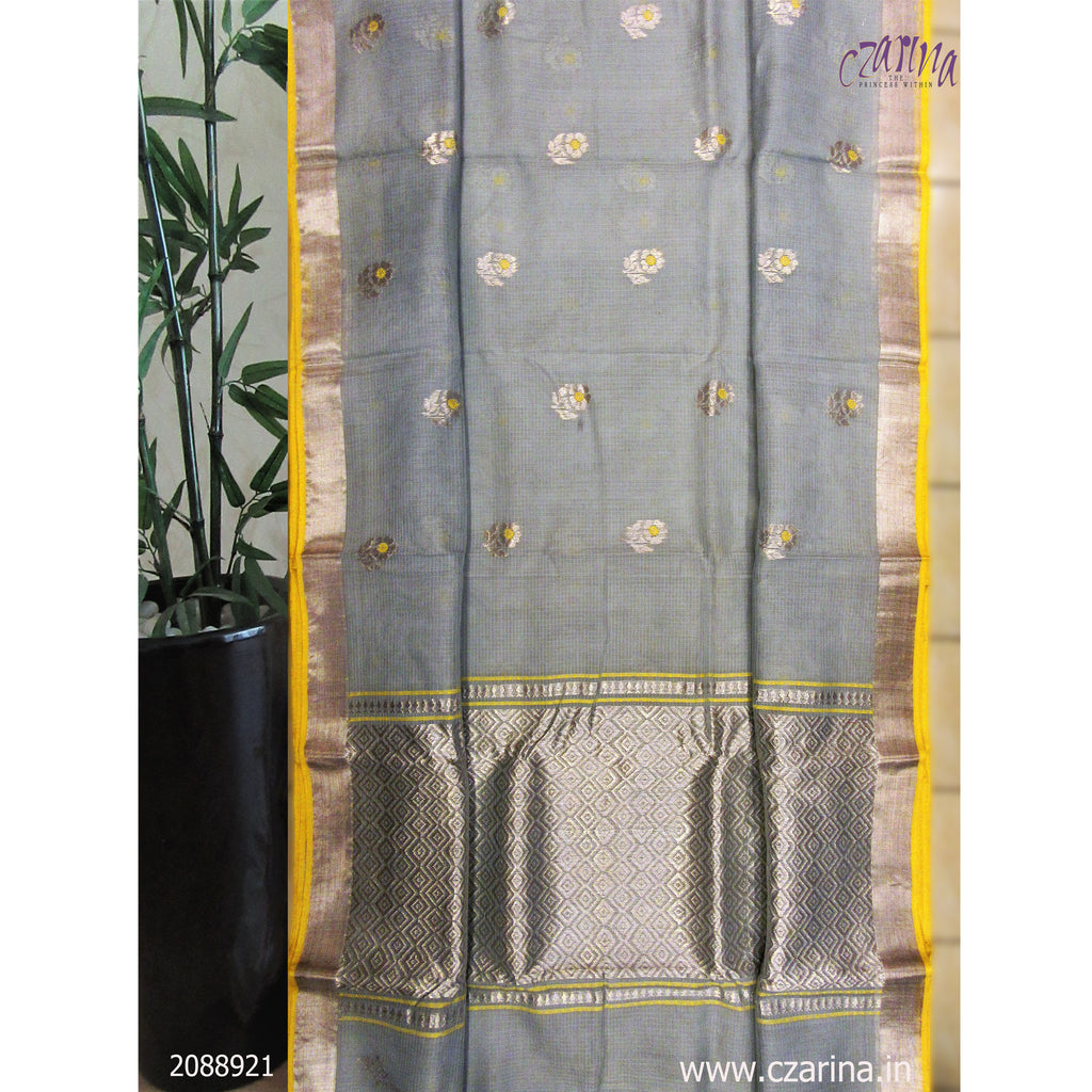 ASH SILVER BORDER PURE ZARI KOTA SAREE