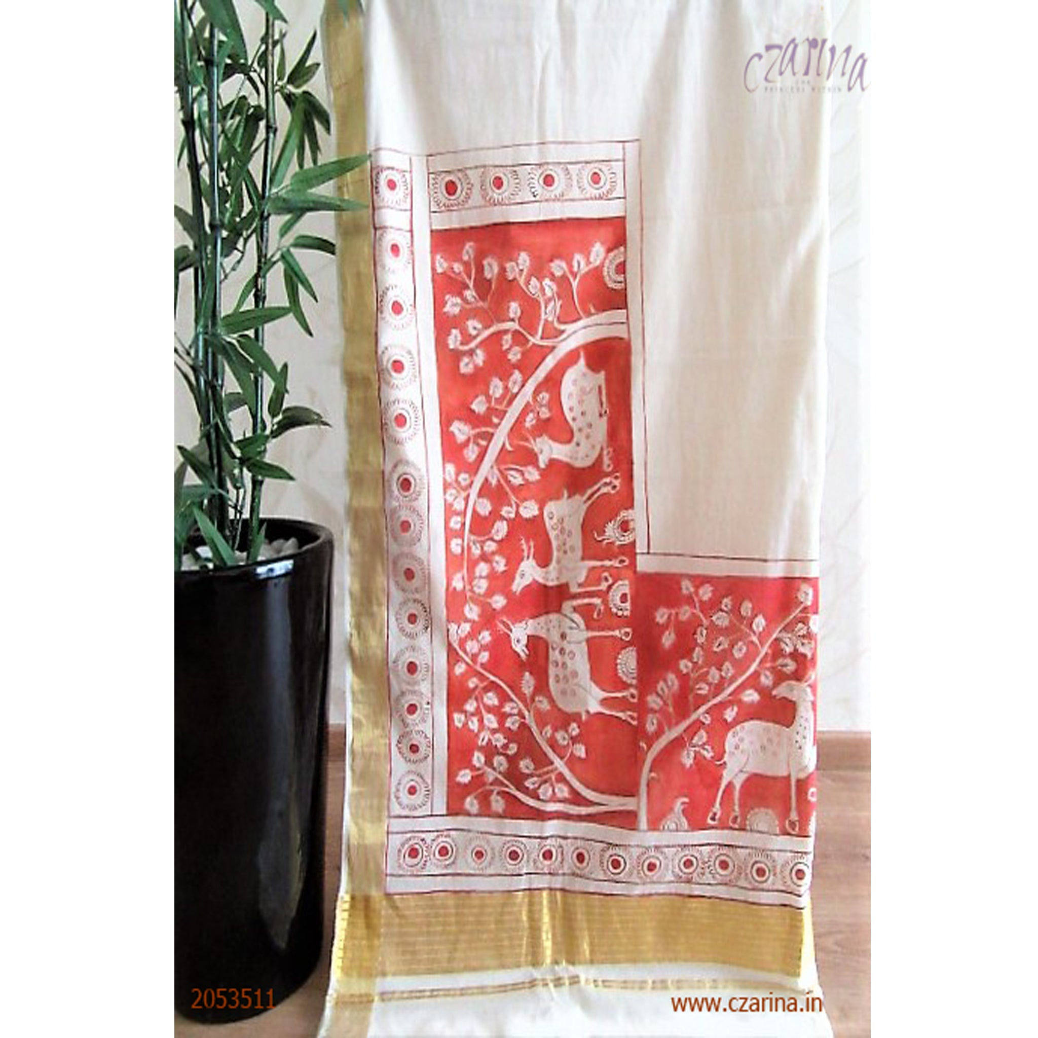 OFF WHITE AND RED PRINTED COTTON KERALA SAREE
