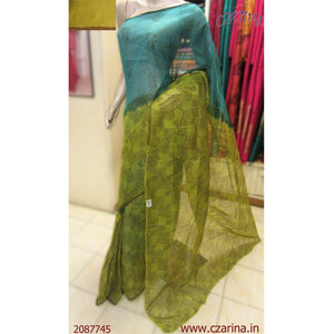 OLIVE GREEN BLUE PRINTED KOTA SAREE