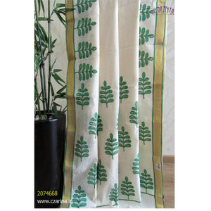 OFF WHITE AND GREEN EMBROIDERED COTTON KERALA SAREE