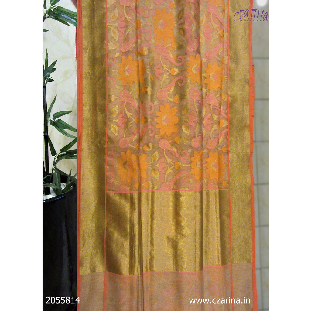 PINK ORANGE BANARASI SILK SAREE