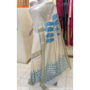 OFF WHITE BLUE EMBROIDERED COTTON SAREE
