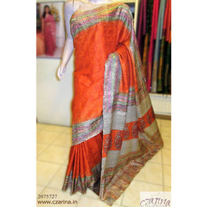 ORANGE OFF WHITE PRINTED TUSSAR SILK SAREE