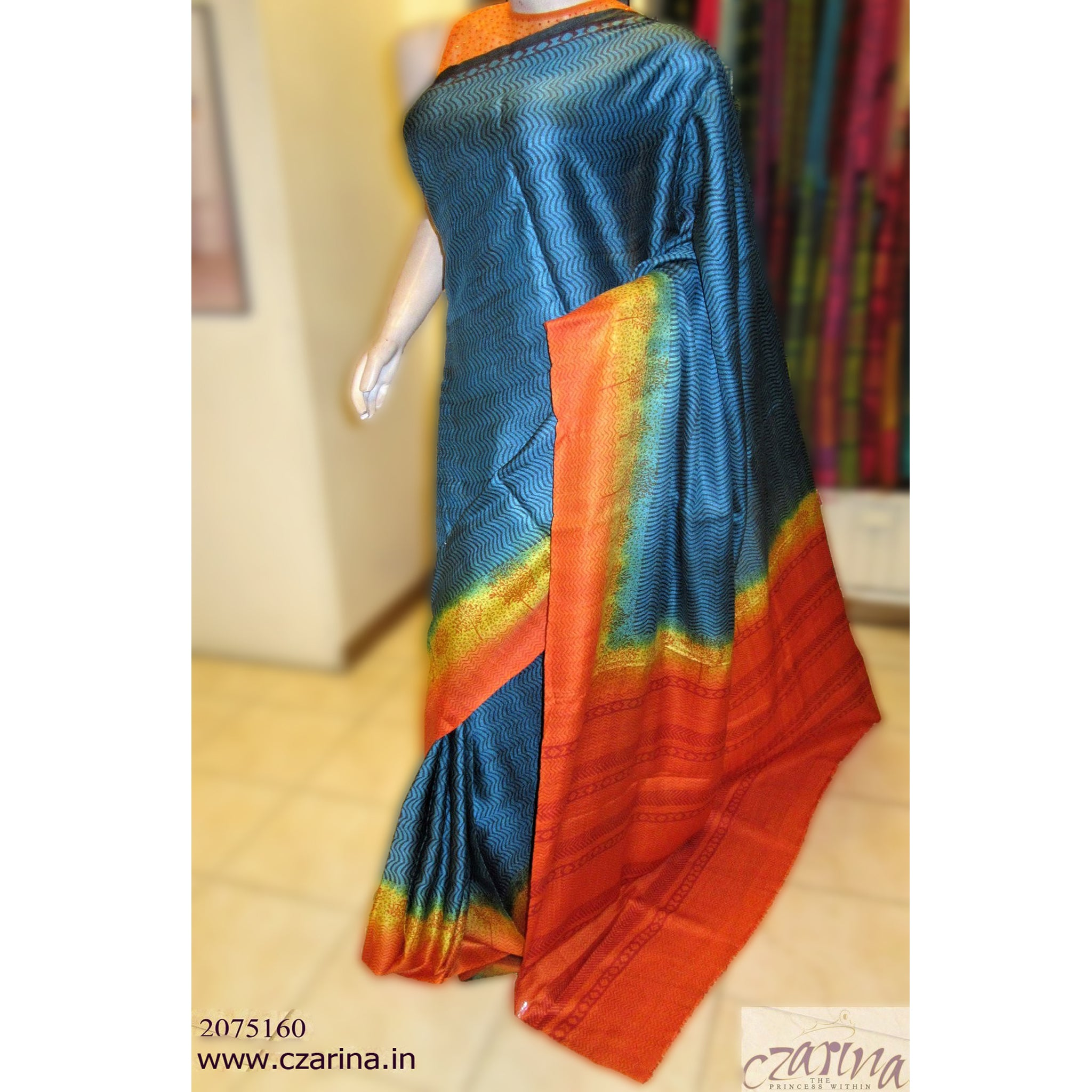 BLUE ORANGE PRINTED TUSSAR SILK SAREE