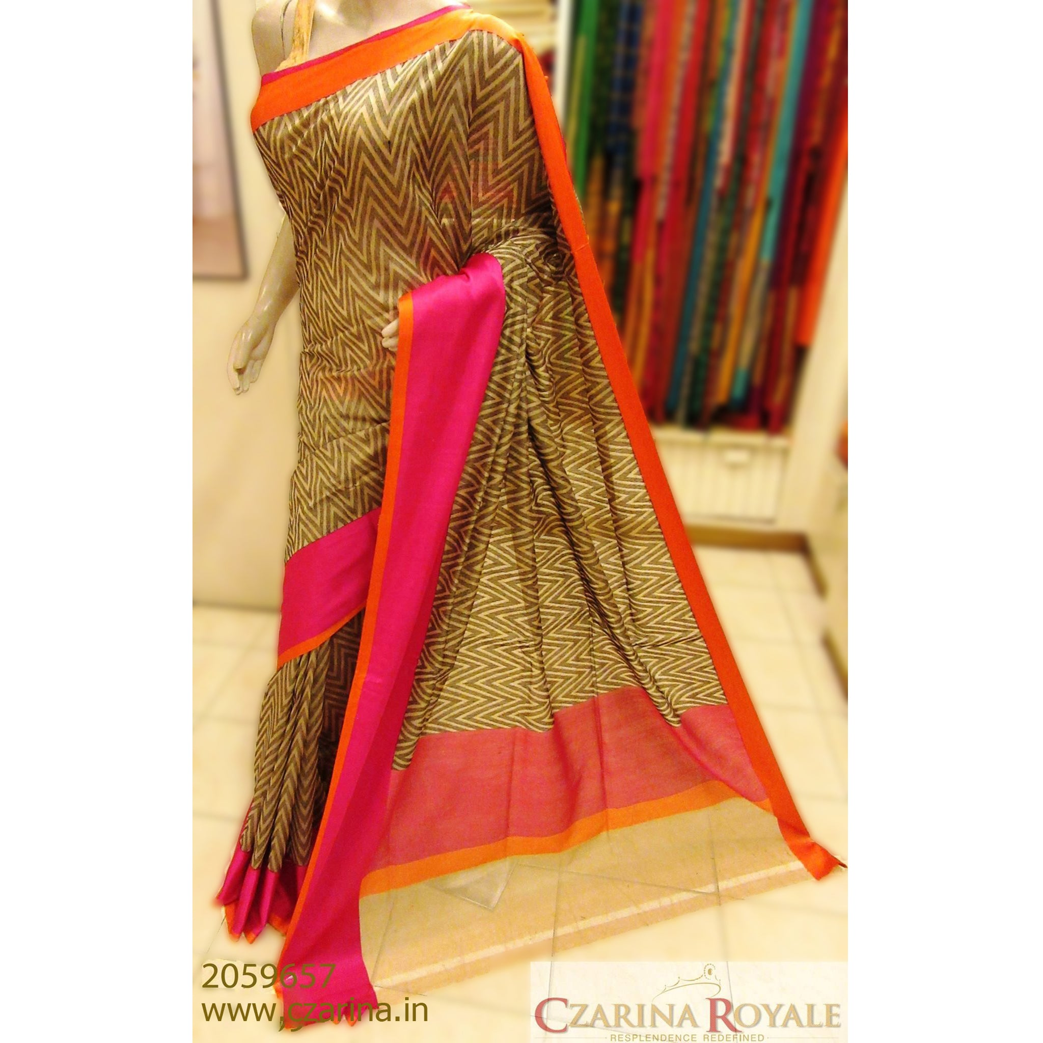 OFF WHITE BLACK PINK BANARASI SILK SAREE