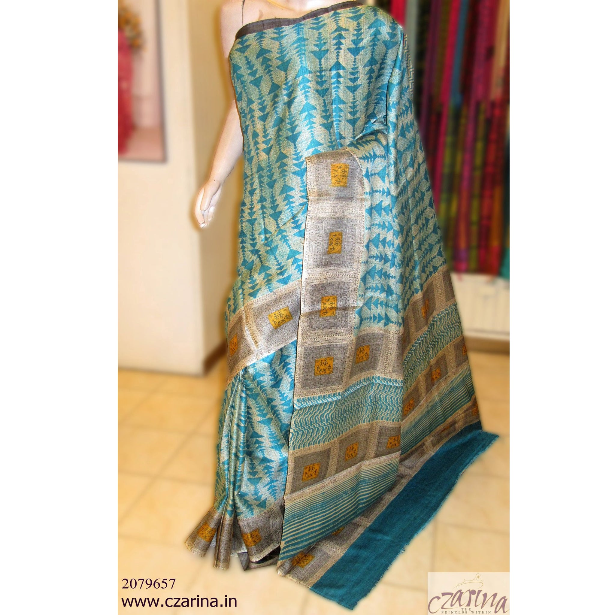 OFF WHITE BLUE PRINTED TUSSAR SILK SAREE