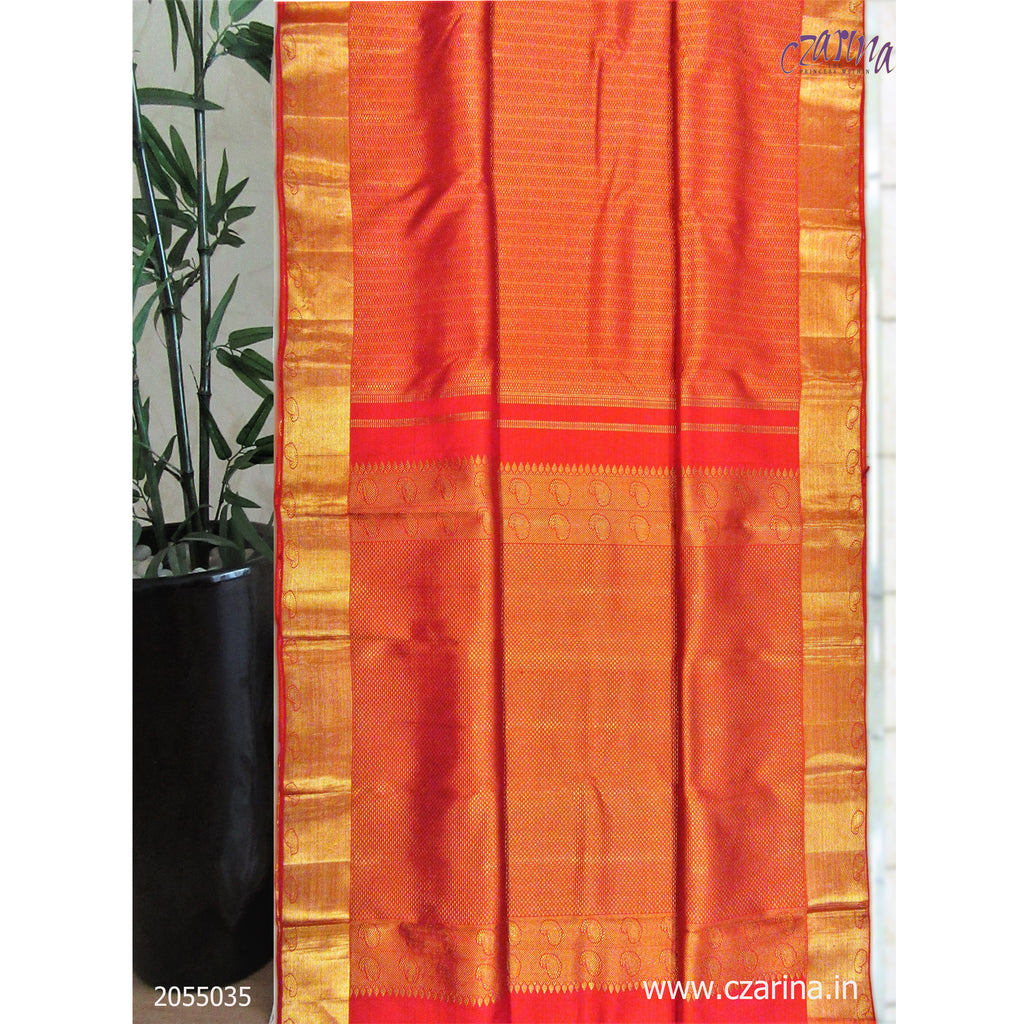 RED GOLDEN PURE KANCHIPURAM SILK SAREE