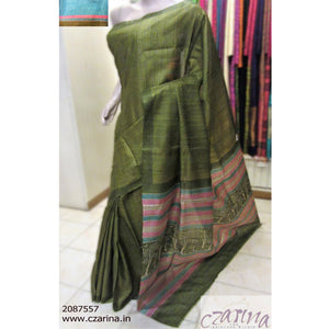GREEN OFF WHITE PRINTED TUSSAR SILK SAREE