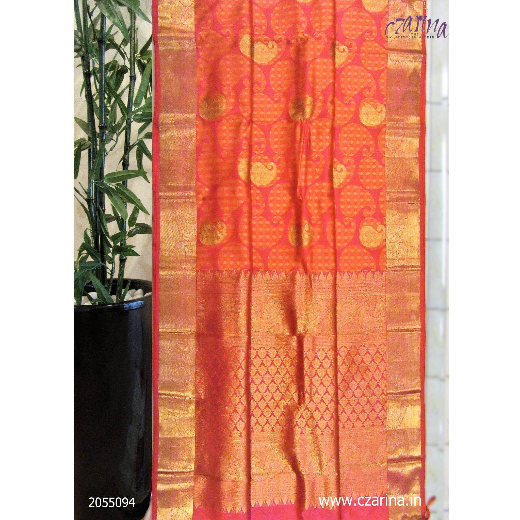 ORANGE PINK PURE KANCHIPURAM SILK SAREE