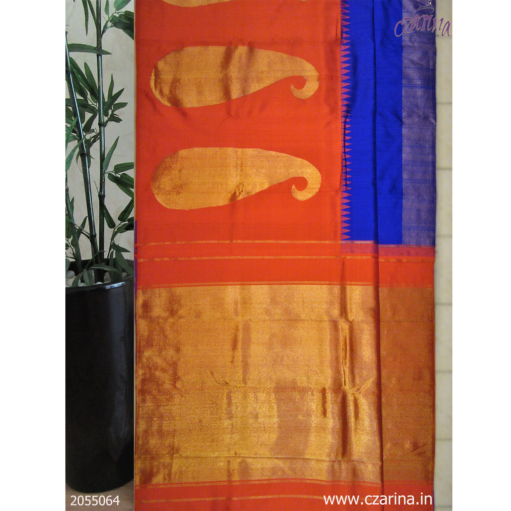 RED BLUE GOLDEN PURE KANCHIPURAM SILK SAREE