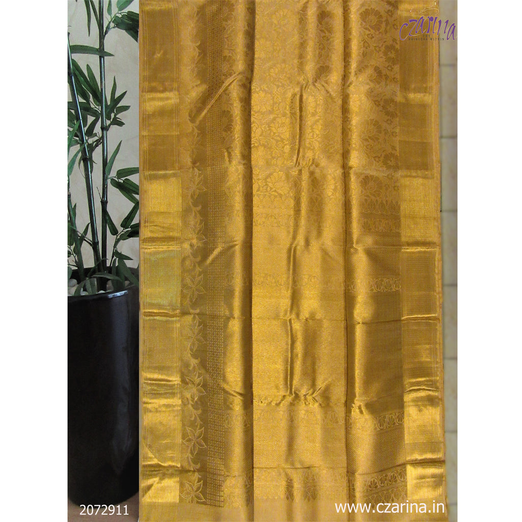 GOLDEN PURE KANCHIPURAM SILK SAREE