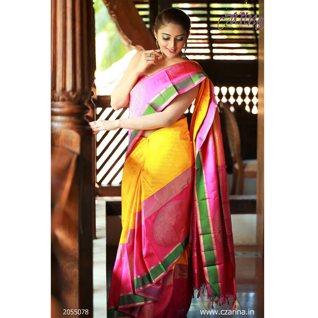 MAGENTA YELLOW GREEN KANCHIPURAM SILK SAREE