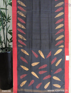 BLACK RED EMBROIDERED BAILOU SAREE