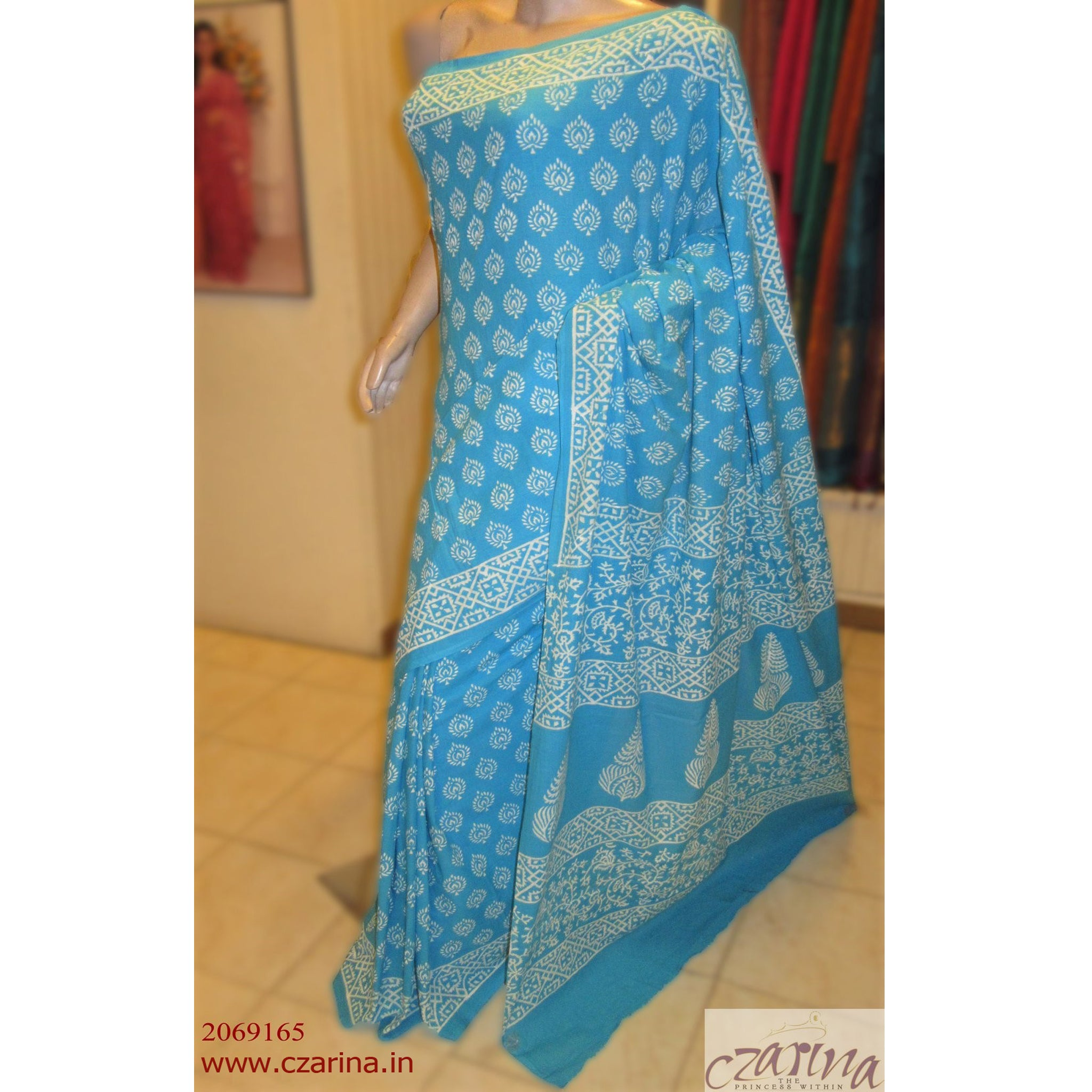 BLUE WHITE PRINTED CHANDERI COTTON SAREE