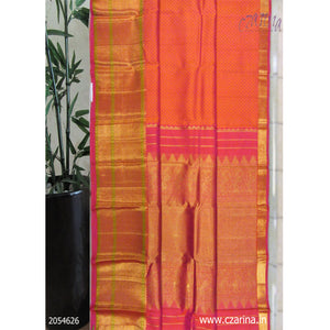 PINK ORANGE PURE KANCHIPURAM SILK SAREE