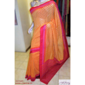 ORANGE OFF WHITE PRINTED CHANDERI COTTON SAREE