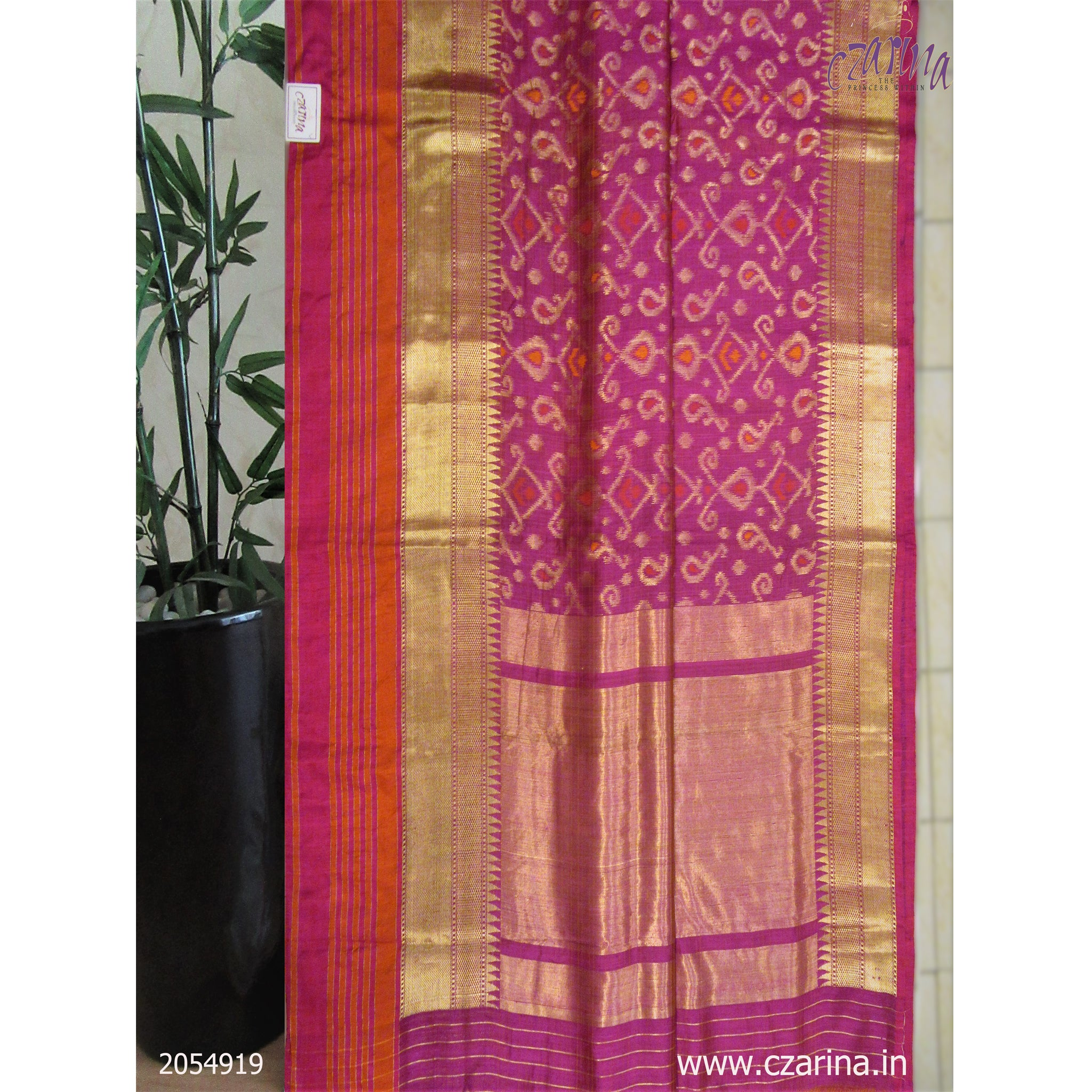 MAGENTA ORANGE GOLDEN BANARASI SILK SAREE