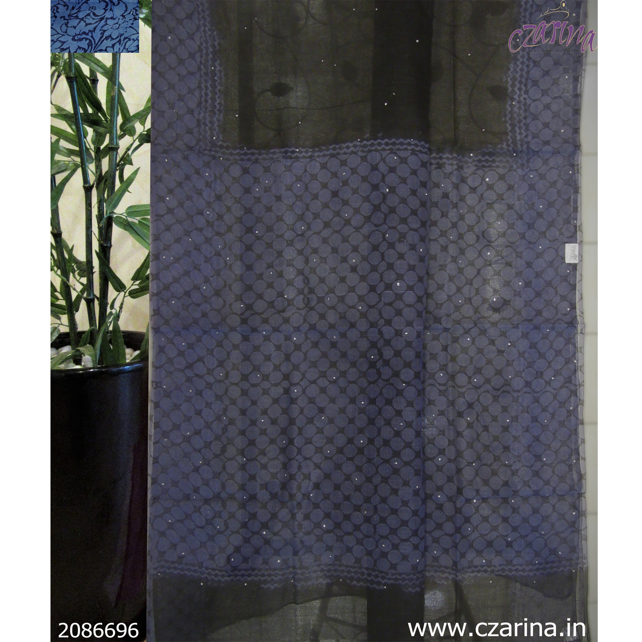 BLACK SPACE BLUE PRINTED KOTA SAREE