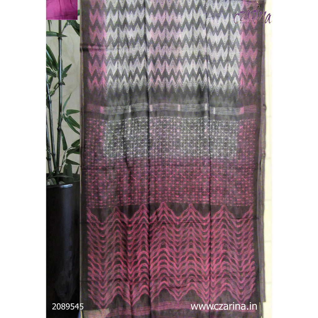 MAROON OFF WHITE BLACK COTTON KOTA SAREE