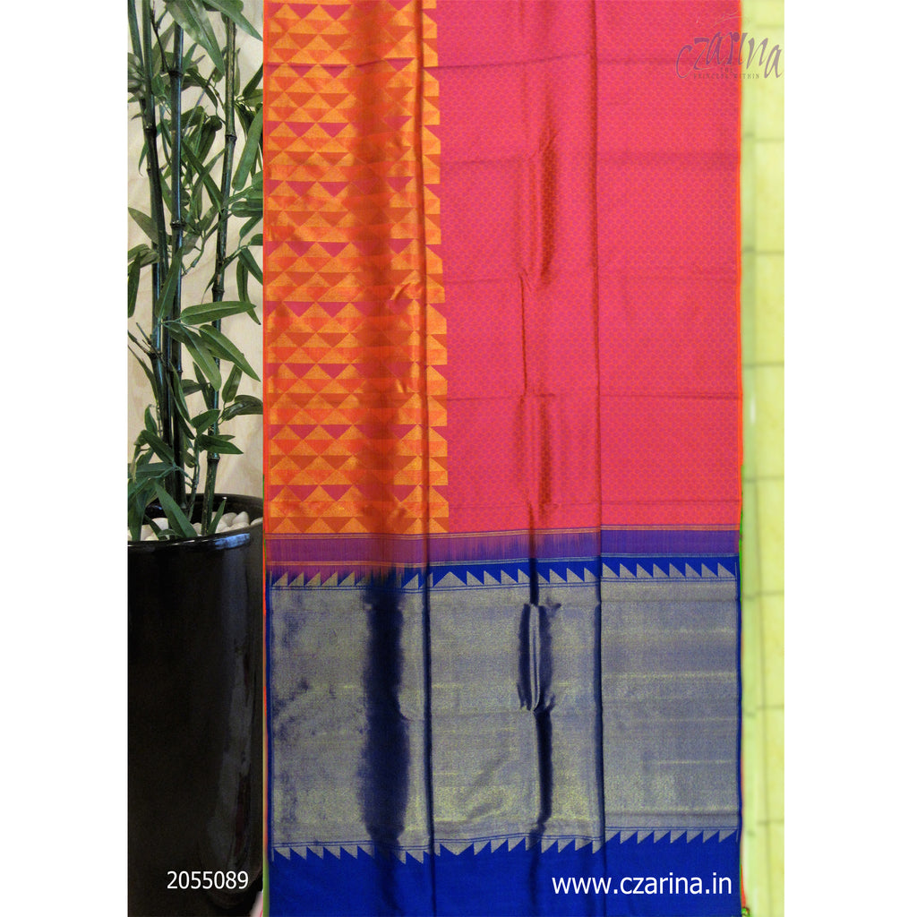 PINK RED BLUE PURE KANCHIPURAM SILK SAREE