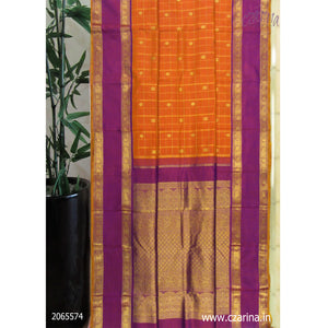 ORANGE PURPLE KANCHIPURAM SILK SAREE