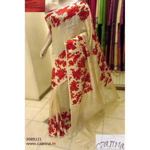 OFF WHITE RED FLORAL PRINTED LINEN SAREE