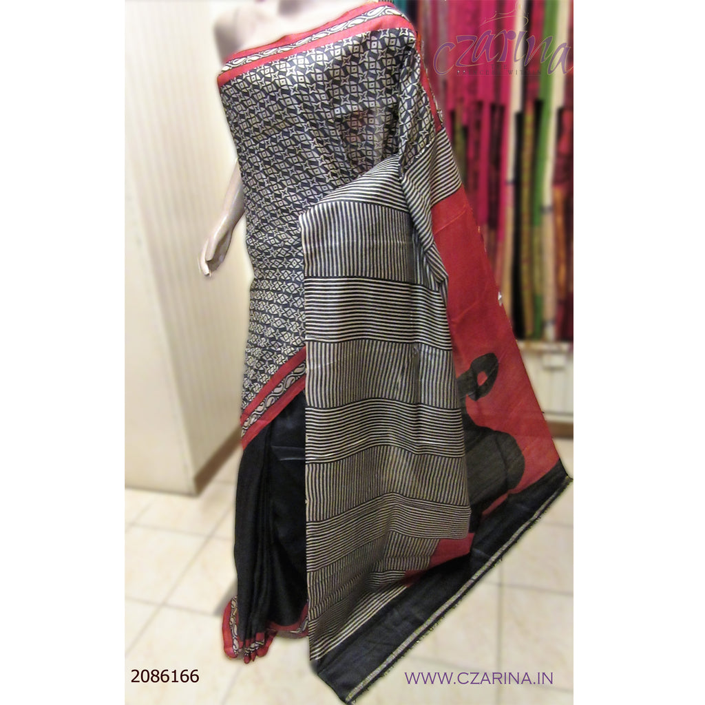 BLACK WHITE AND RED PRINTED TUSSAR SILK SAREE
