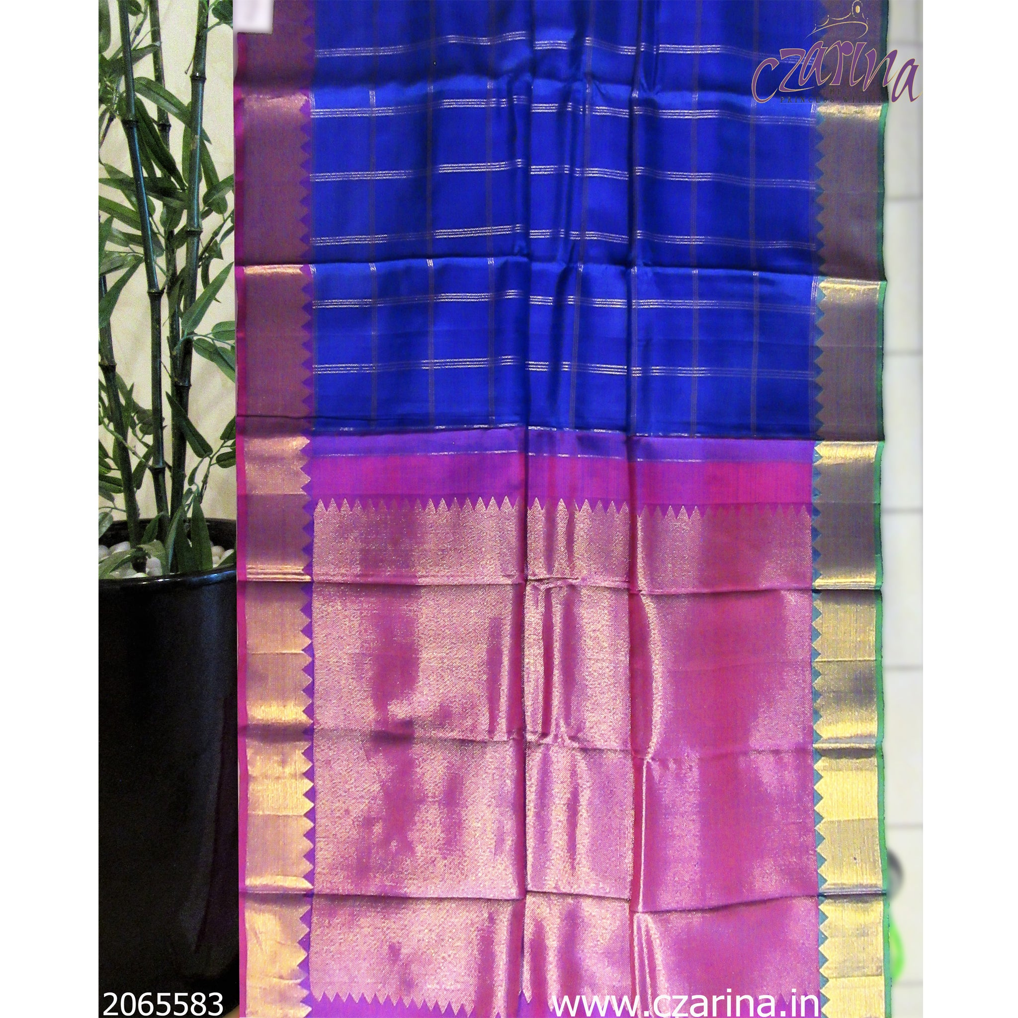 BLUE PURPLE GOLDEN KANCHIPURAM SILK SAREE