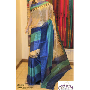 CREAM BLUE PRINTED TUSSAR SILK SAREE
