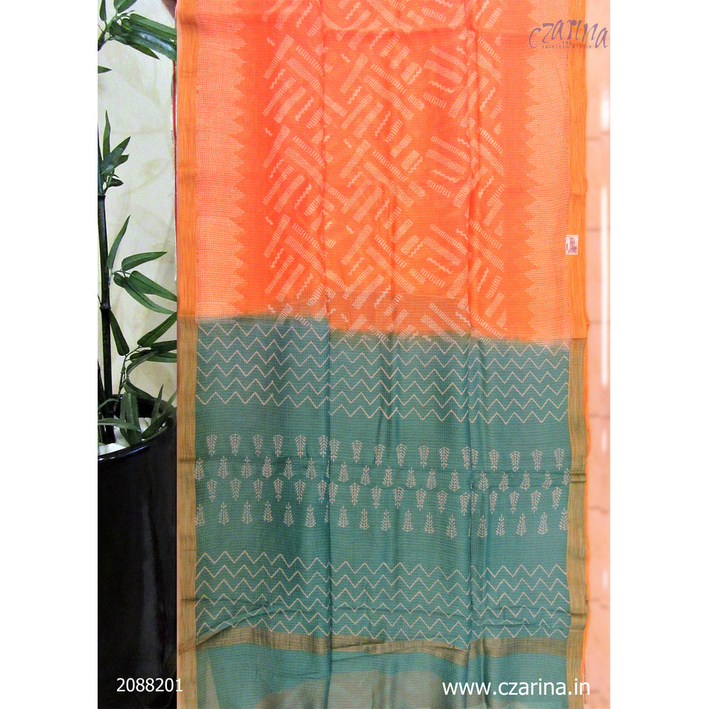 PEACH GREEN COTTON KOTA SAREE
