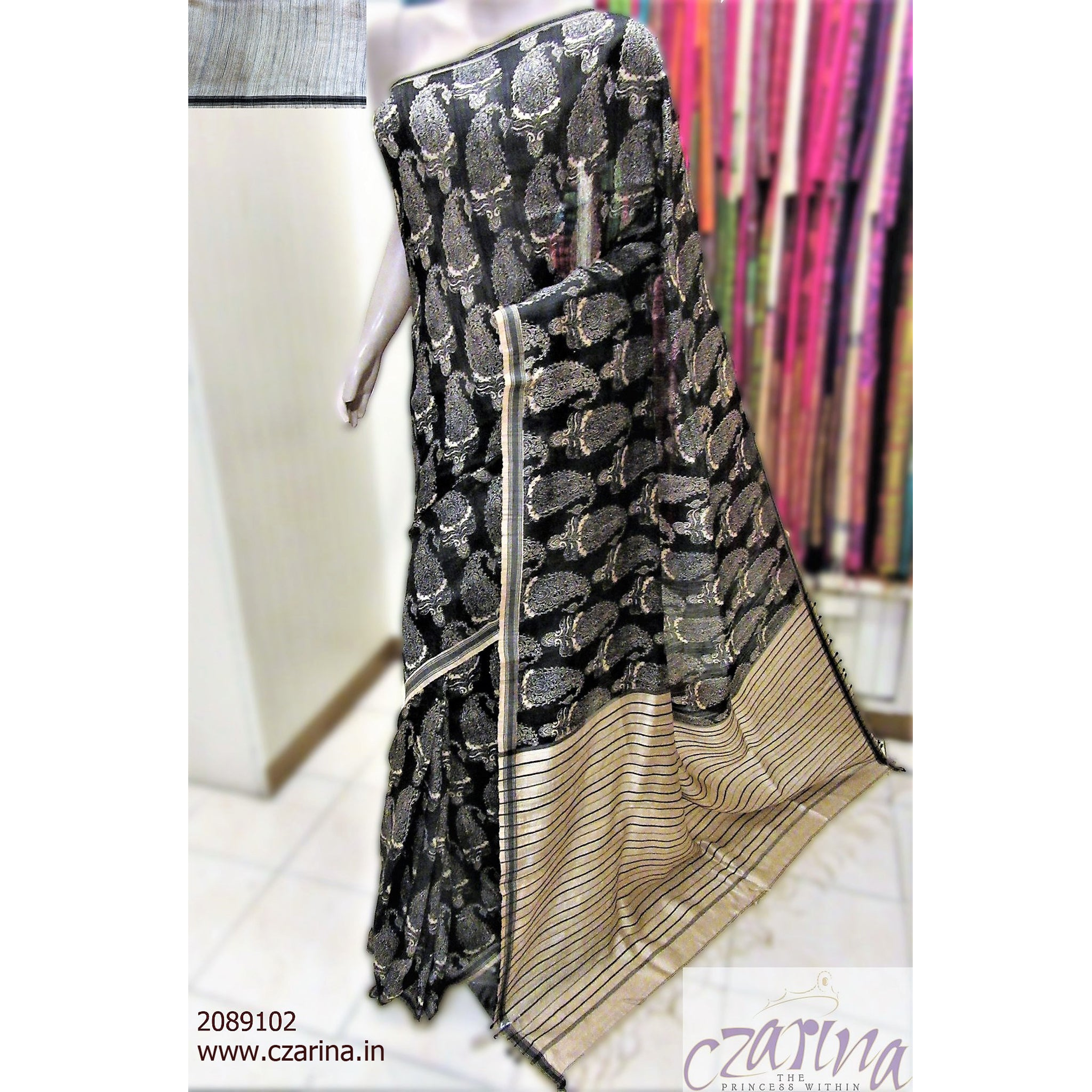 BLACK OFF WHITE PRINTED LINEN SAREE