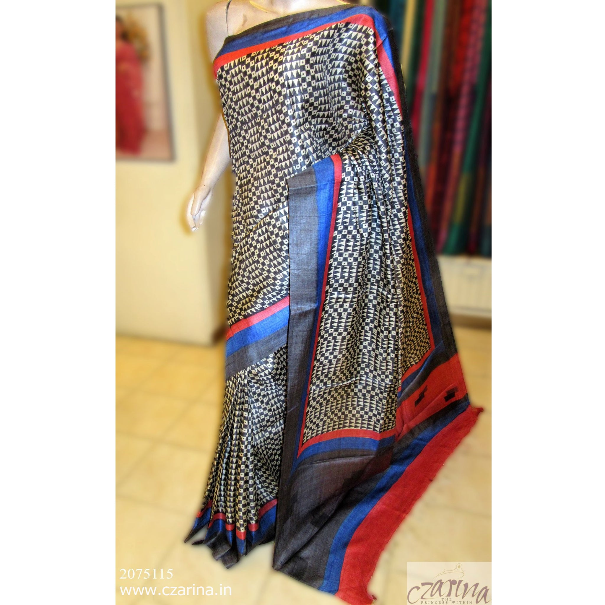 OFF WHITE BLACK PRINTED TUSSAR SILK SAREE