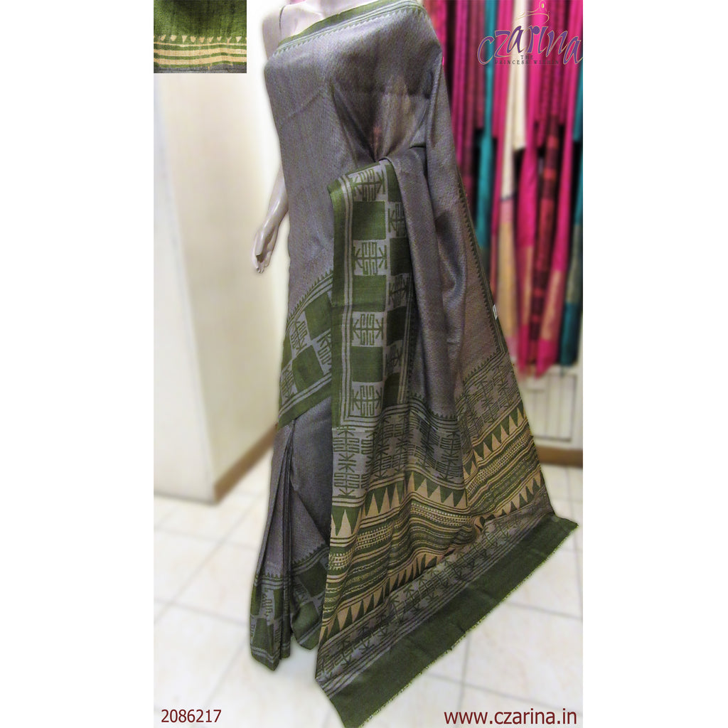 ASH ARMY GREEN PRINTED TUSSAR SILK SAREE