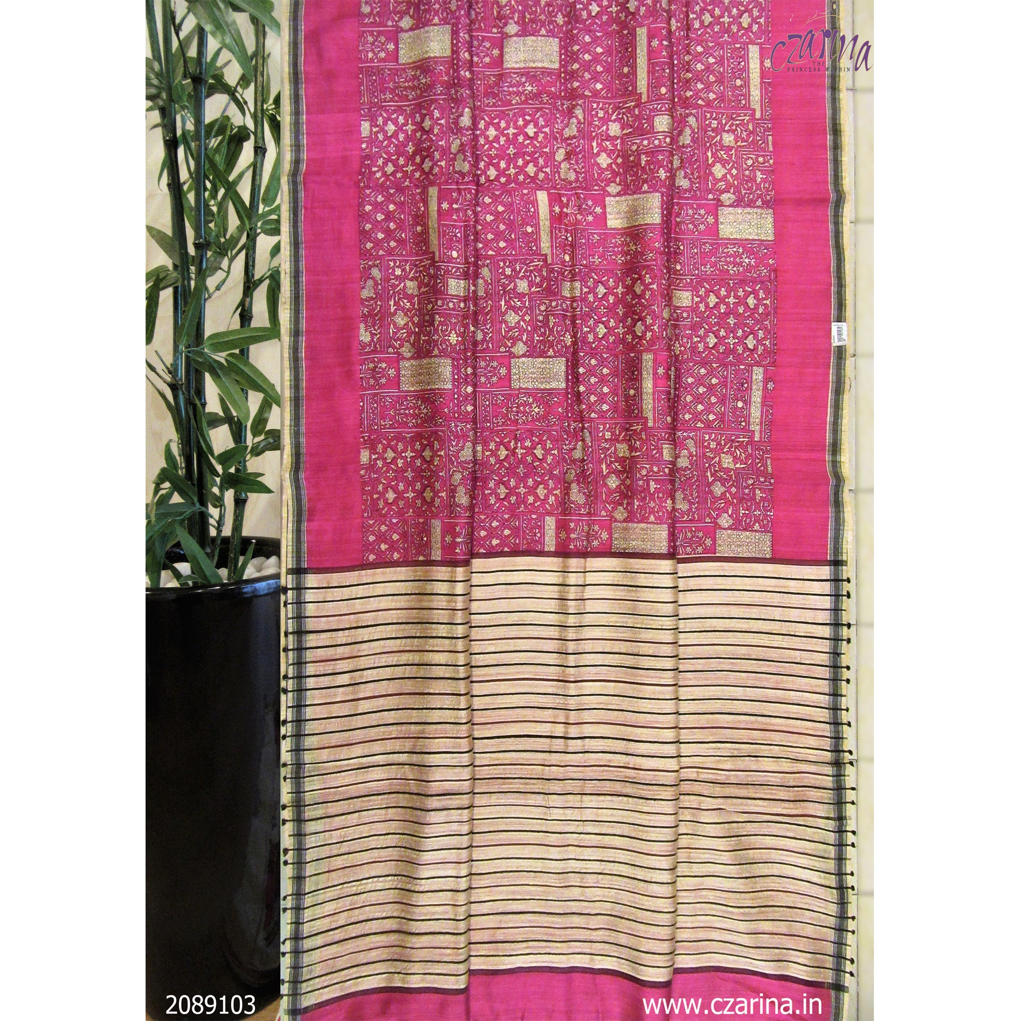 MAGENTA CREAM PRINTED LINEN SAREE